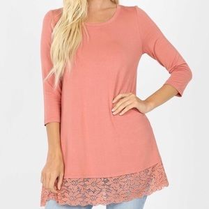 Ash Rose Lace Tunic 3/4 Sleeves Boutique Top
